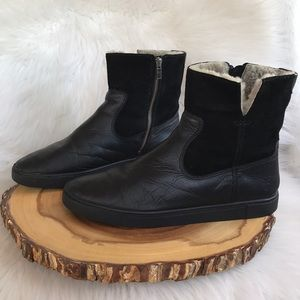 Frye leather side zip shearling lined boots